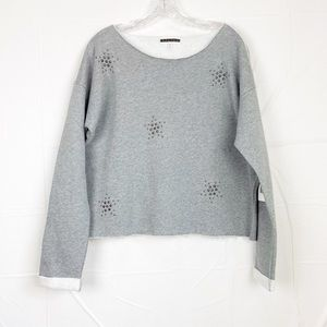NWT P.J. SALVAGE ll Grey Embellished Sweater